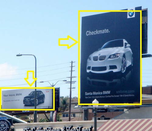 Billboard war between Mercedes and BMW